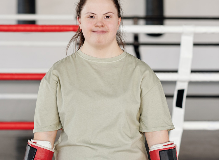 Woman with Down Syndrome boxing